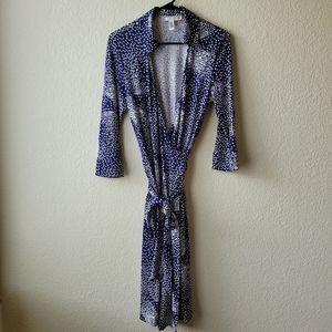 Diane Von Furstenberg Justin Dress Blue/White Cubist Print Vintage Label Size 12